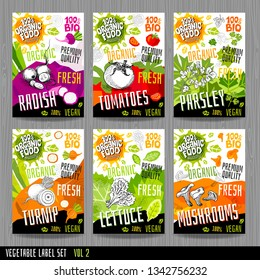 Food label set stickers collection vegetable labels spices package design. Tomatoes, radish, parsley, lettuce, turnip, mushrooms chanterelles. Organic, fresh, bio, eco. Hand drawn vector illustration.