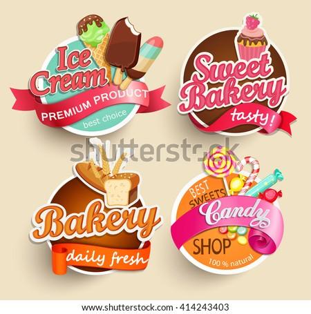 food label sticker bakery ice cream のベクター画像素材