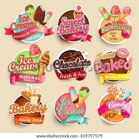 food label sticker bakery icecream chocolate stock vector royalty