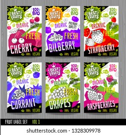 Food labels stickers set colorful sketch style fruits, spices vegetables package design. Cherry, bilberry, strawberry, currant, grapes, raspberries. Organic, fresh, bio, Hand drawn vector illustration