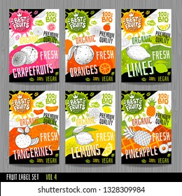 Food labels stickers set colorful sketch style fruits, spices vegetables package design. Pineapple, orange, lemons, tangerines, limes, grapefruits. Organic, fresh, bio, eco. Vector illustration.
