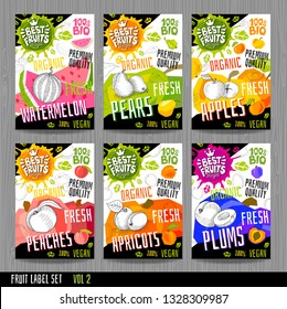 Food labels stickers set colorful sketch style fruits, spices vegetables package design. Watermelon, pear, apples, plums, peaches, apricots. Organic, fresh, bio, eco. Hand drawn vector illustration.