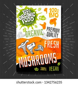 Food labels stickers set colorful sketch style fruits, spices vegetables package design. Mushrooms, chanterelles. Vegetable label. Organic, fresh, bio, eco. Hand drawn vector illustration.
