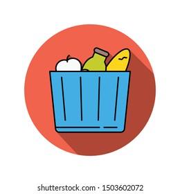 food line color icons for  bottle &  fruit