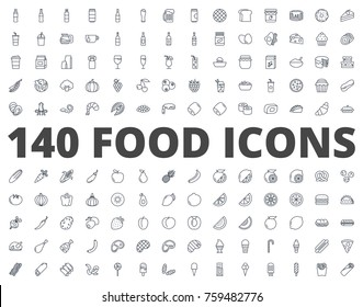 Food line icon Bakery fast food fruits and vegetables breakfast drinks