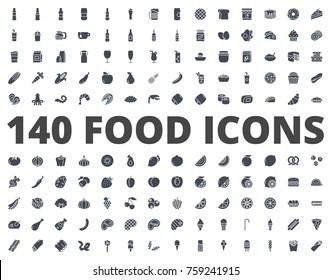 Food line icon pack Fruits and vegetables, orange, fish, bakery, fast food