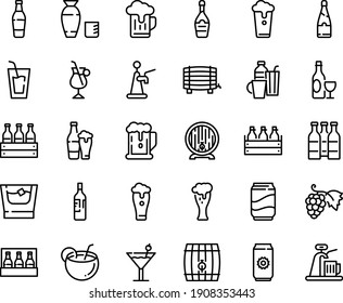 Food line icon set - beer, drink, rice vodka, grape, wine, box, barrel, glass, champagne, irish coffee, drinks, cocktail, soda, coconut, bottle, whiskey, cup, pack, aluminium, tap