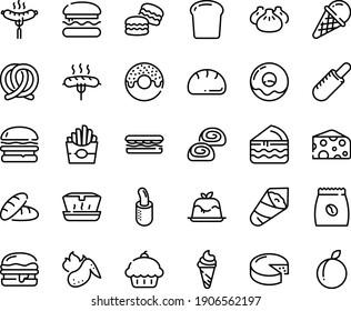 Food line icon set - burger, cupcake, bread, sandwich, french fries, donut, hot dog, ice cream, lunch box, dim sum, temaki, cheese, panna cotta, sausage on fork, pretzel, bakery, coffee pack, piece