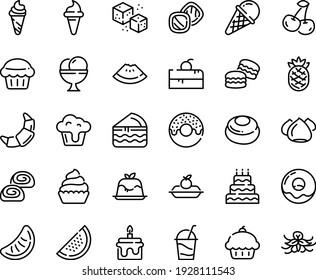 Food line icon set - cherry cake piece, cupcake, watermelon, donut, ice cream horn, panna cotta, croissant, charlotte, cocktail, meringue, bakery, refined sugar, big, muffin, macarons, cookies