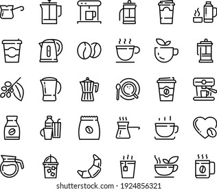 Food line icon set - coffee to go, green tea, hot, cup, croissant, french press, coffe maker, iced, top view, pot, turkish, tree, instant, love, machine, pack, beans, kettle, drinks, thermo flask