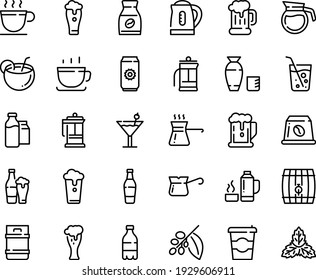 Food line icon set - coffee to go, beer, milk bottle, rice vodka, cup, mug, glass, french press, turkish, tree, instant, capsule, bootle and pack, pot, kettle, thermo flask, cocktail, coconut, soda