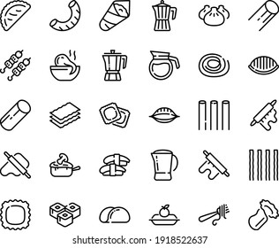 Food line icon set - dim sum, octopus soup, sashimi, sushi roll, kebab, temaki, dough and rolling pin, calsone, fork with pasta, coffee pot, ravioli, charlotte cake, julienne, tacos bread, bucatini