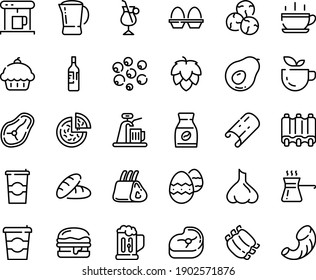 Food line icon set - hot cup, coffee to go, cupcake, bread, green tea, pizza, burger, coffe maker, instant, irish, pot, meat, ribs, steak, egg stand, easter, turkish, beer mug, wine bottle, hop, tap