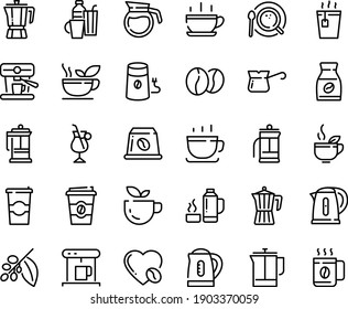 Food line icon set - hot cup, green tea, coffee to go, pot, french press, coffe maker, mill, top view, turkish, tree, instant, irish, love, machine, beans, capsule, kettle, drinks, thermo flask