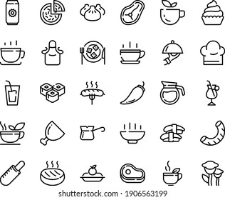 Food line icon set - Hot Bowl, cup, meat, green tea, drink, pizza, french dog, dim sum, sashimi, sushi roll, coffee, dish dome, charlotte cake, cheese plate, cupcake, turkish, irish, ham, cutlet