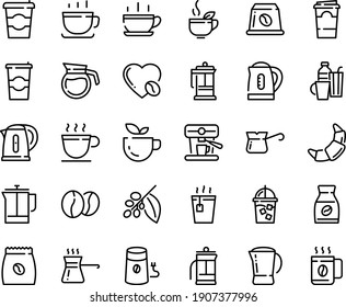 Food line icon set - hot cup, coffee to go, green tea, croissant, french press, iced, mill, turkish, tree, instant, love, machine, pack, beans, capsule, pot, kettle, drinks, paper