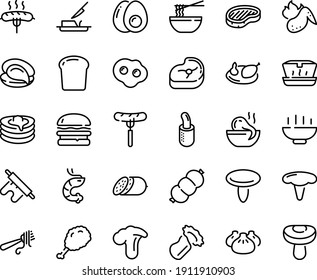 Food line icon set - Hot Bowl, burger, sausage on fork, fried chiken leg, lunch box, dim sum, octopus soup, funchose, oyster, shrimp, with pasta, salami, steak, french dog, pancakes, butter knife