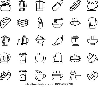 Food line icon set - Hot Bowl, cup, green tea, dog, pepper, french, funchose, calsone, pasta in pan, coffee pot, sausages, press, to go, sausage on fork, roasted, bbq, chicken wing, cooking glove