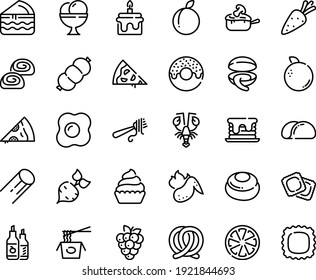 Food line icon set - pizza piece, donut, chinese pasta, clam, lobster, fork with, ravioli, pretzel, ketchup, ice cream, bakery, cupcake, julienne, sausage, hot chicken wing, omelette, cake, pancake
