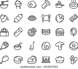 Food line icon set - plate spoon fork, pizza, fried chiken leg, rice bowl, funchose, gunkan, sausages, bread, ham, burger, sausage, donut, cheese, julienne, meat, cutlet, sowbelly, bbq, ladle, morel