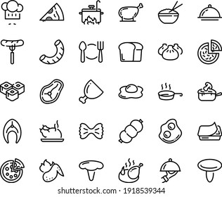 Food line icon set - plate spoon fork, pizza, sausage on, piece, rice bowl, dim sum, sushi roll, chinese chicken, chef hat, omelette, pate can, fried, dish dome, julienne, ham, fish steak, leg, pan