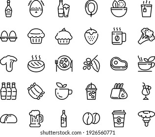 Food line icon set - salad, meat, cupcake, green tea, hot, coffee to go, beer mug, sausage, champagne, cheese plate, iced, tree, irish, beans, ribs, cutlet, egg stand, timer, wine bottle, cup