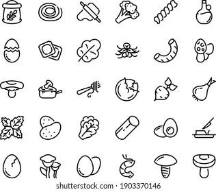 Food line icon set - shrimp, dough and rolling pin, fork with pasta, olive oil, ravioli, julienne, butter knife, egg, broaken, yolk, flour bag, potato, beet, cabbage, arugula, onion, broccoli, basil
