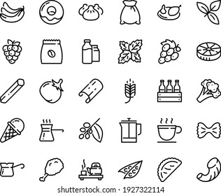Food line icon set - spike, fried chiken leg, dim sum, tea ceremony, calsone, basil, ice cream, donut, coffee cup, french press, turkish, tree, pack, milk bootle and, chicken, flour bag, beer box