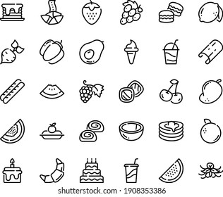Food line icon set - watermelon piece, ice cream horn, drink to go, fortune cookie, grape, croissant, baguette, charlotte cake, cocktail, bakery, pancakes, big, pancake, macarons, cookies, beet
