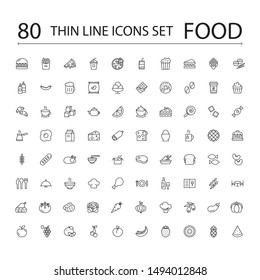 Food Line Icons Set Collection. Bakery, Seafood, Vegetables, Fruit, Coffee, Meat, Fastfood. Vector illustration eps10.