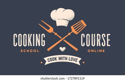 Food logo. Logo for Cooking school class with icon bbq tools, grill fork, spatula, hat chef, text typography Coocking Course. Graphic logo template for cooking cuisine course. Vector Illustration