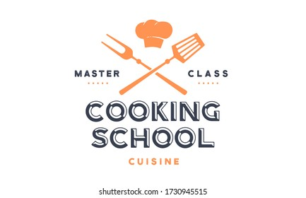 Food logo. Logo for Cooking school class with icon bbq tools, grill fork, spatula, text typography Coocking School, Master Class. Graphic logo template for cooking cuisine course. Vector Illustration