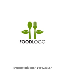 Food logo design with spoon and fork icon with isolated background template
