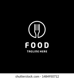 Food logo design template. Vector color hand like illustration background. Graphic fork icon symbol for cafe, restaurant, cooking business.