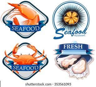 Food logo with fresh seafood illustration