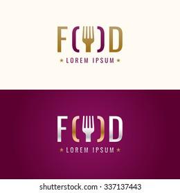 Food logo. Graphic sign for restaurant or cafe. Modern vector illustration.