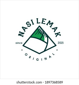 Food Logo Nasi Lemak Design Vector, means Cooked Rice, Traditional Food Recipe Graphic Idea