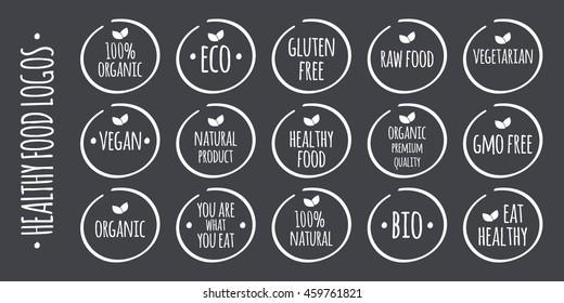 Food logo set. 100% Organic, Eco, Gluten, GMO Free, Raw, Bio, Vegetarian, Vegan, Natural Product, Premium Quality, Eat Healthy symbols. Vector label illustration
