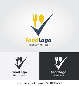 Food Logo Template. Vector Illustration. Fork and Spoon icon with check mark.
