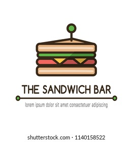 "Food logotype with classical sandwich, text ""the sandwich bar"" and text template. Colorful isolated vector food logo in flat style with outline for your project"