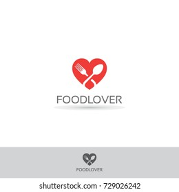 food lover logo design concept idea with fork and spoon on heart icon symbol