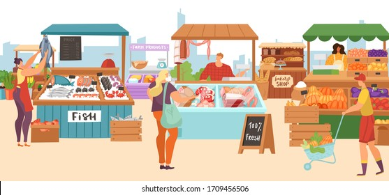 Food market sale stalls, local farmer butcher, fish kiosk shop, bakery and vegetables fruits stands flat vector illustrations. Local market stall selling farm meat, organic food.
