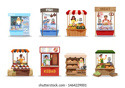 Food market set. Product from farm, fresh healthy food. Mn and woman standing at the stall and sell harvest. Isolated flat illustration vector