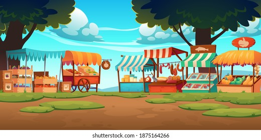 Food market stalls with fruits, vegetables, cheese, meat and fish on counter and in crates. Vector cartoon landscape with traditional marketplace tents with farm produce, wooden kiosks with canopy