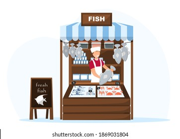 Food market worker in fish tent. Concept of selling fresh healthy food from farm on the market. Flat cartoon vector illustration