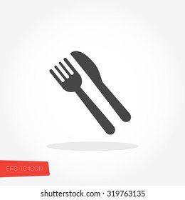 Food, Meal, Fork and Knife Isolated Flat Web Mobile Icon / Vector / Sign / Symbol / Button / Element / Silhouette