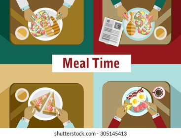 Food meal time top view concept flat icon