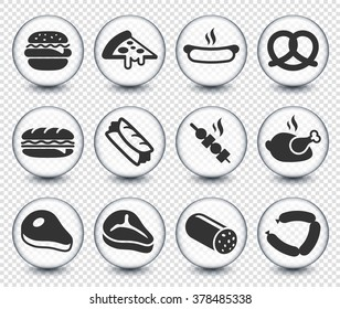 Food Meat and Junk food on Transparent Round Buttons