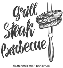 food meat, steak on a skewer roast , calligraphic text, hand drawn vector illustration realistic sketch