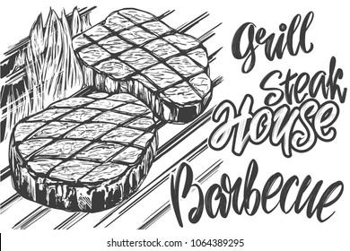 food meat, steak, roast grilled, calligraphic text hand drawn vector illustration realistic sketch
